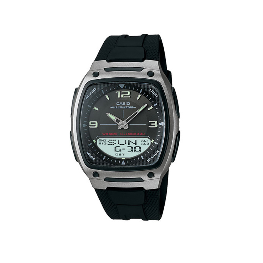 CASIO 都會風雙顯商務錶(AW-81-1A1)-黑/38.6mm