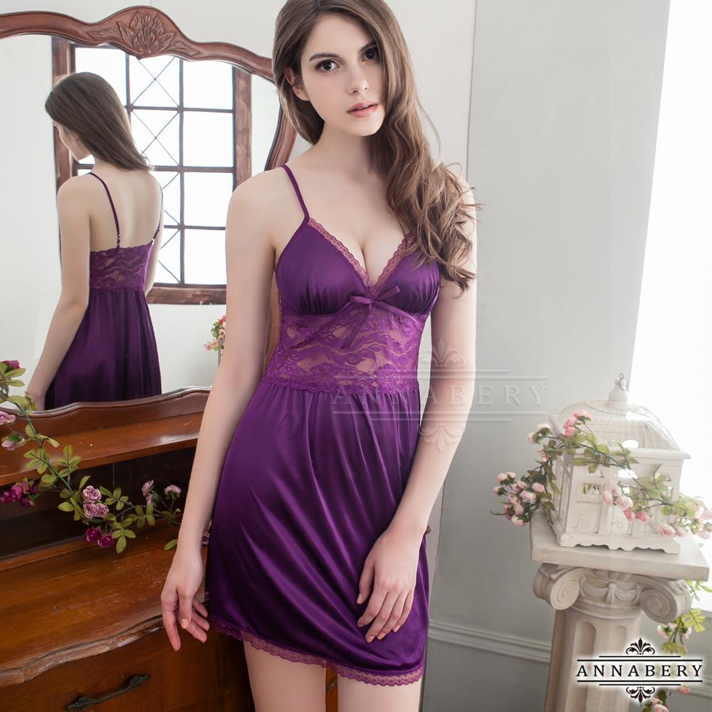 大尺碼 紫色緹花柔緞睡衣L-2L Annabery