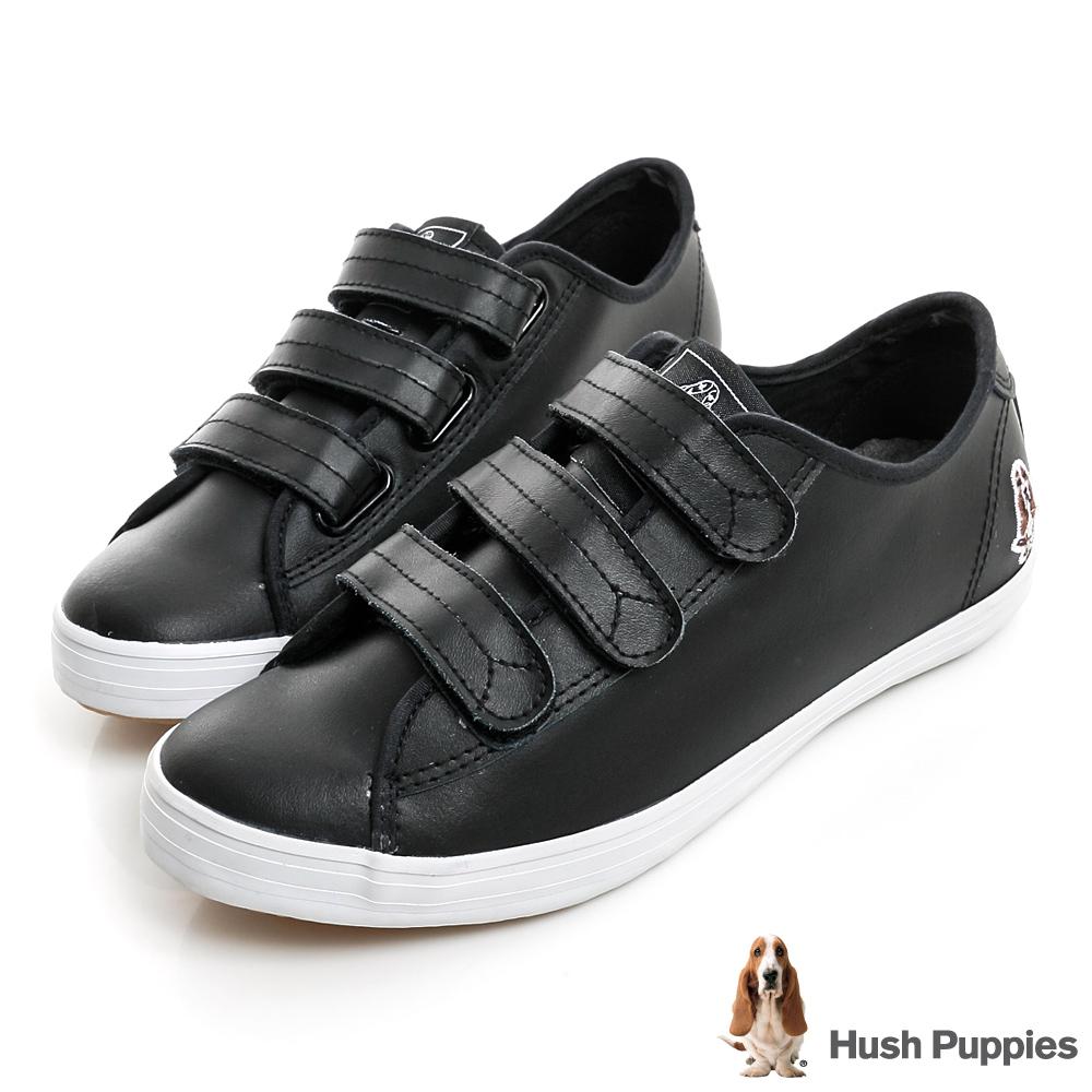Hush Puppies 質感真皮咖啡紗魔鬼氈休閒鞋-黑色