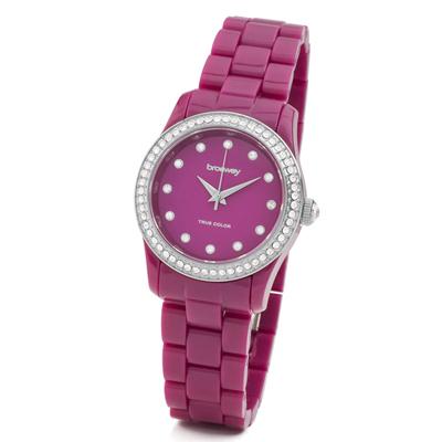 brosway True Color Mini 鑽面PC錶帶腕錶-覆盆玫紅色/31mm