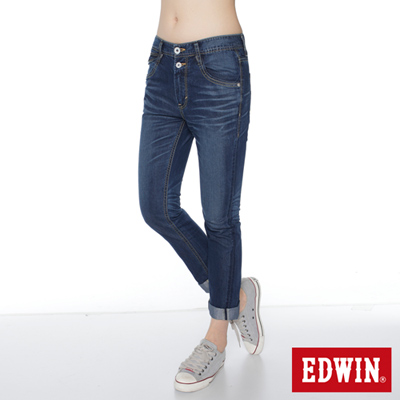 EDWIN 輕夏生活 MISS 503 雙釦涼感B.F牛仔褲-女款(原藍磨)