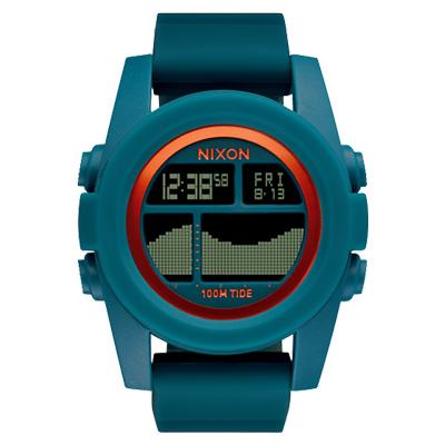 NIXON Unit Tide 飆悍美式軍風運動腕錶-錶帶藍綠/43mm
