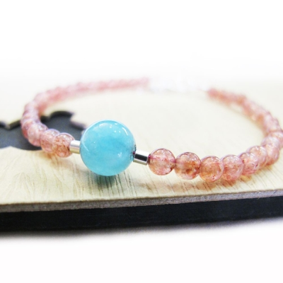 Hera 925純銀手作圓舞曲天然草莓晶+海藍寶手鍊