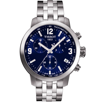 TISSOT PRC  200  競速三眼計時腕錶-藍/ 42 mm
