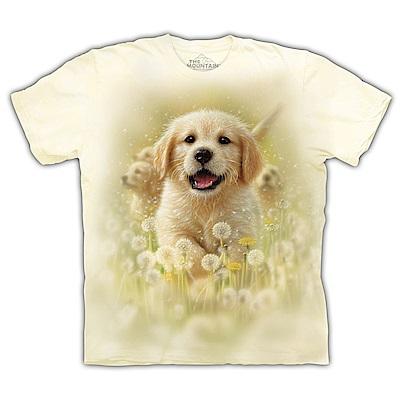 摩達客-美國The Mountain 微笑小黃金獵犬 兒童版純棉環保短袖T恤