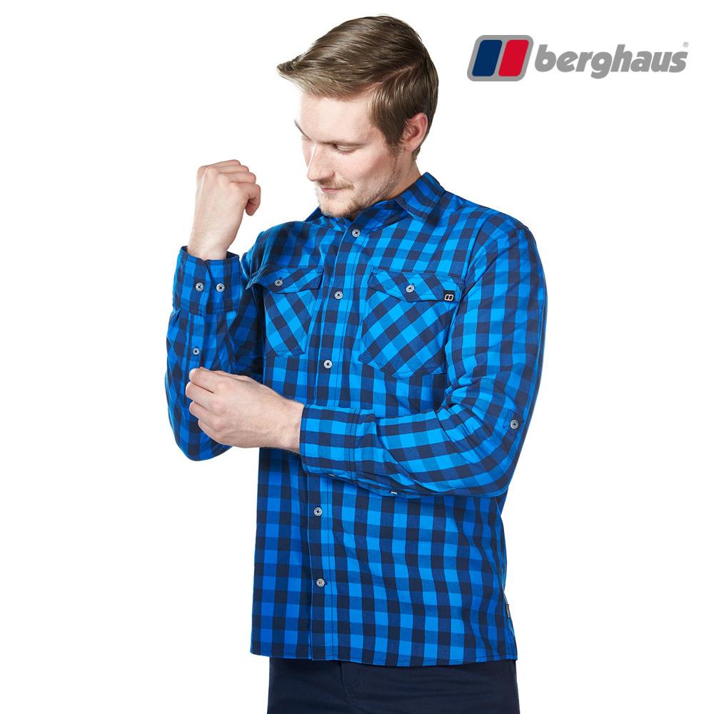 【Berghaus貝豪斯】男款銀離子抗菌除臭抗UV長袖襯衫S05M47潛水藍