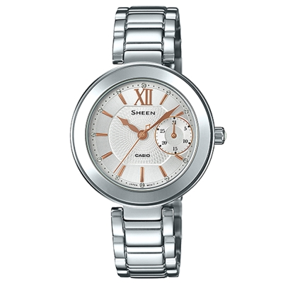 SHEEN 羅馬時刻施華洛世奇時尚簡約腕錶(SHE-3050D-7)-白/32mm