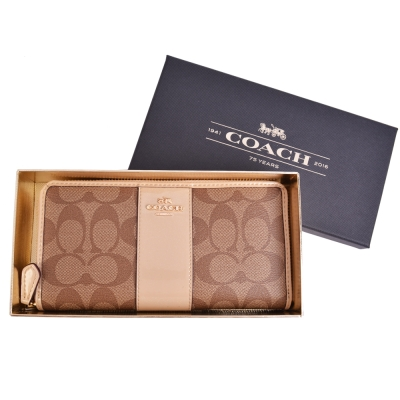 COACH-立體馬車LOGO皮革-型拉鍊長夾-卡其-裸膚-附原廠禮盒
