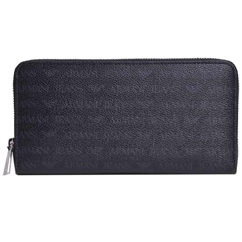 ARMANI JEANS 經典防刮壓紋品牌LOGO PVC 拉鍊長夾(黑)