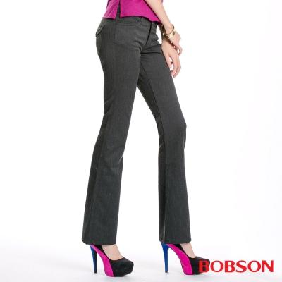 BOBSON 女款混紡毛料小喇叭褲(深灰87)