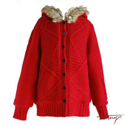 毛領羅紋束口針織外套*4636紅