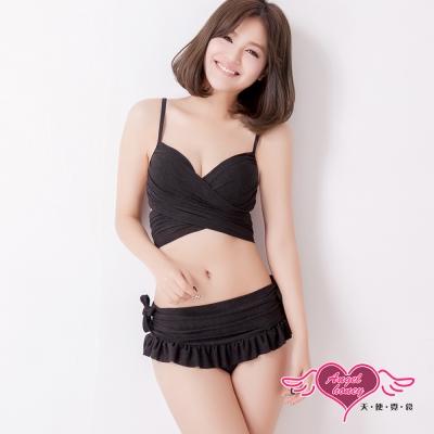 天使霓裳 海洋風範 二件式泳衣比基尼(黑M~XL)