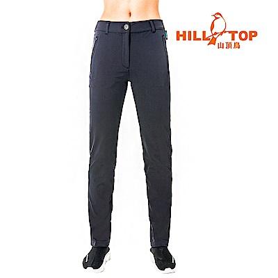 【hilltop山頂鳥】女款吸濕快乾彈性超潑水長褲S07FG5-黑美人