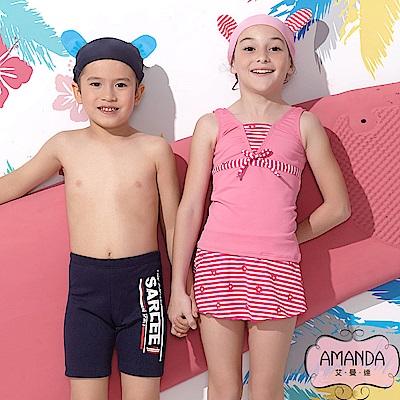 AMANDA 女童泳裝 二截裙-粉甜花-4805附帽