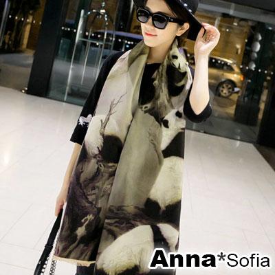 AnnaSofia-熊貓噴畫雙面版-仿羊絨大披肩圍巾