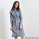 GIORDANO 女裝收腰綁帶棉麻襯衫連身裙-03 復古藍