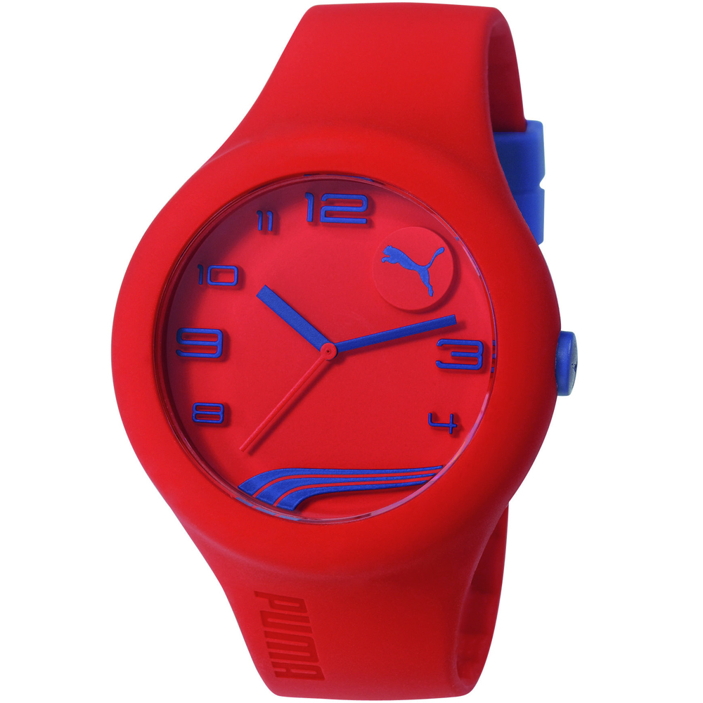 PUMA From潮流玩色時尚運動手錶-紅X藍/47mm