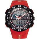 FEMA 潛水風格 計時鬧鈴 雙顯運動錶(P442A)-紅/45mm