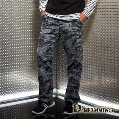 Dreamming 菁英之選戰術迷彩多口袋休閒長褲-藍色