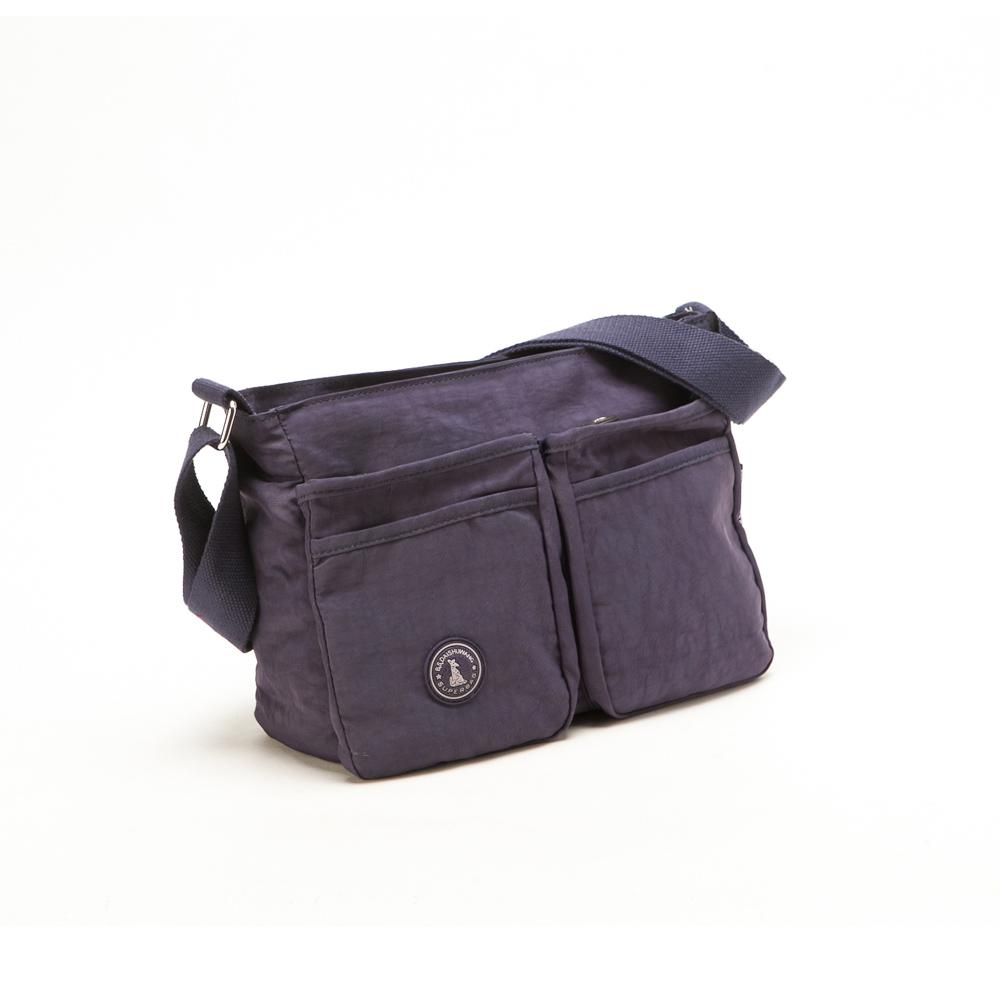 冰山袋鼠 - 輕盈休閒人氣款雙口袋型隨身側背包-深紫(快)