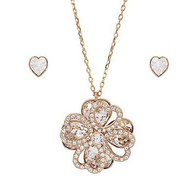 SWAROVSKI 施華洛世奇 幸運草墜飾水晶玫瑰金項鍊+愛心耳環組合