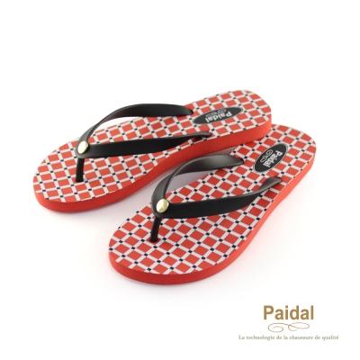Paidal 亮彩紅色幾何格紋海灘拖鞋人字拖鞋