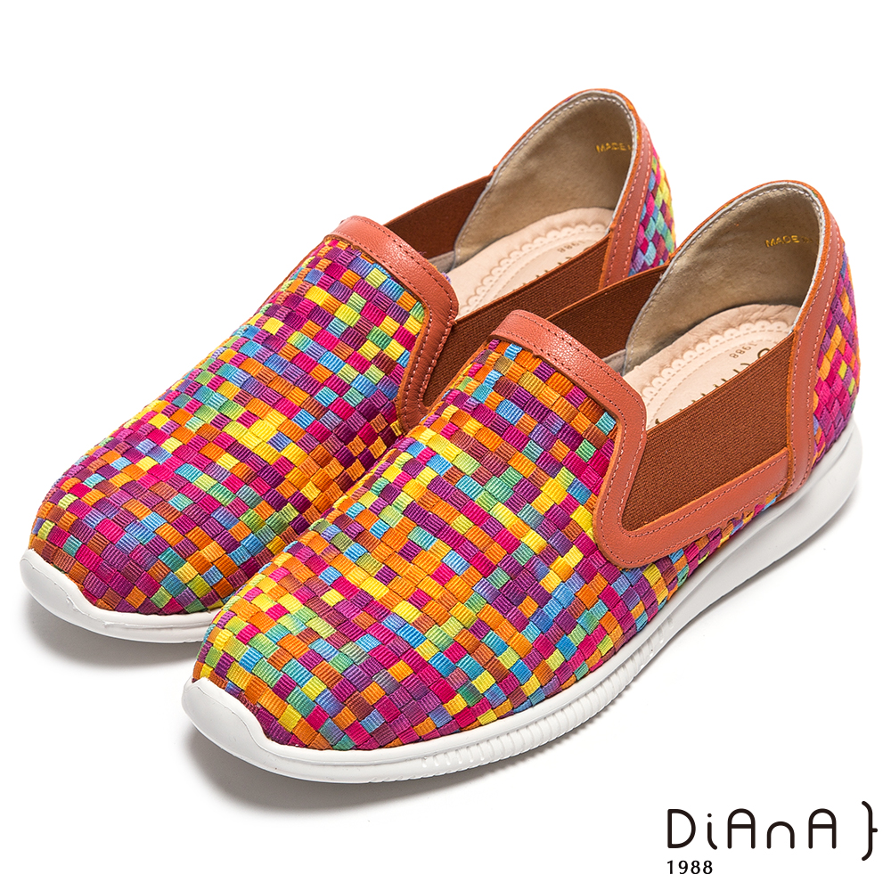 DIANA 編織夢享--彩繪馬賽克漸層普普風休閒鞋-繽紛橘