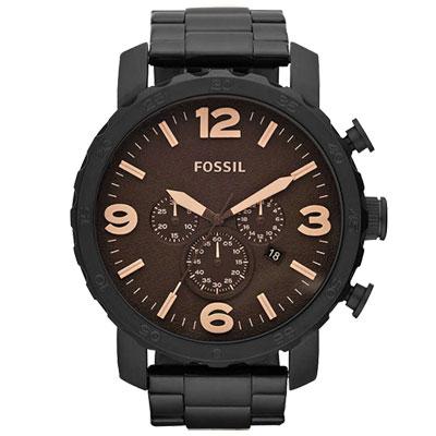 FOSSIL 重裝教士三眼運動計時腕錶(咖啡/51mm)