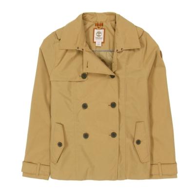 Timberland-女款卡其色素面短版防雨風衣外