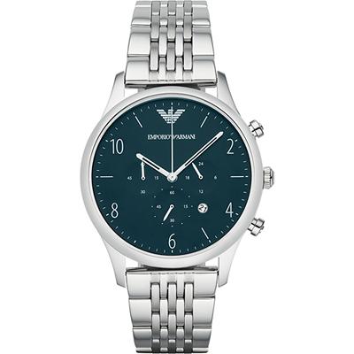 Emporio Armani Classic 紳士復刻計時腕錶-海軍藍x銀/43mm