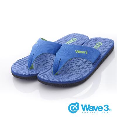 WAVE3【男】台灣製 潛水衣面料/瑜珈墊人字夾腳拖鞋~藍
