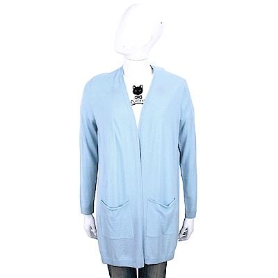 ALLUDE 100%羊毛水藍色雙口袋長版針織外套