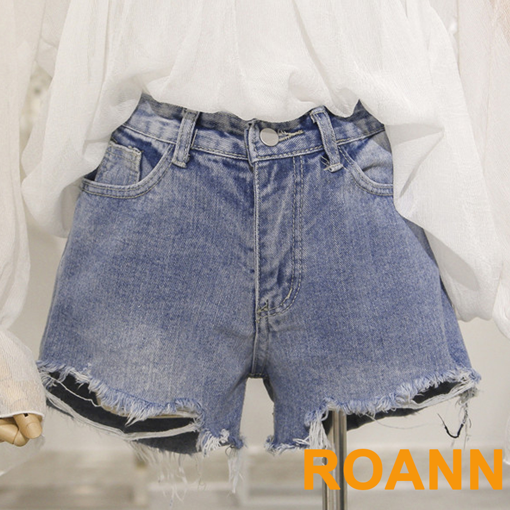 高腰做舊水洗抽鬚牛仔短褲 (共二色)-ROANN