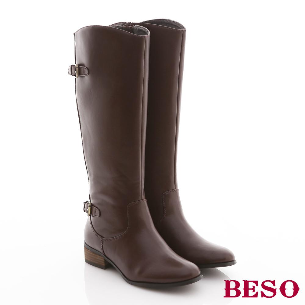 BESO率性世代-後側坑條拼接前後開口微V中長筒靴-優雅咖啡