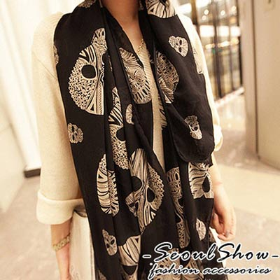 Seoul-Show-輕感時尚-鑽石骷髏雪紡紗圍巾-披肩-米白-橘紅-黑色