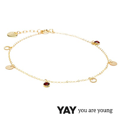 YAY You Are Young 法國品牌 Sultane 紅水晶腳鍊 金色