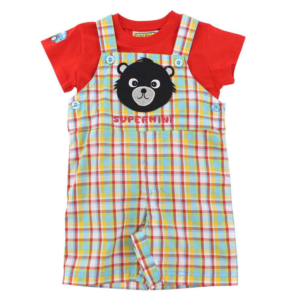 愛的世界 SUPERMINI 熊與車格紋吊帶褲套裝/6個月~2歲
