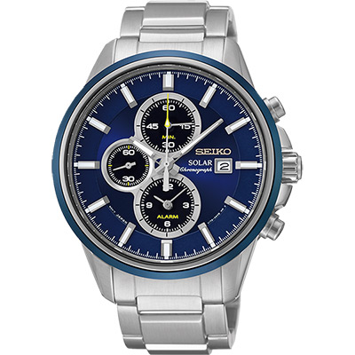 SEIKO SPIRIT 太陽能鬧鈴兩地時間計時腕錶(SSC253P1)-藍x銀/42mm