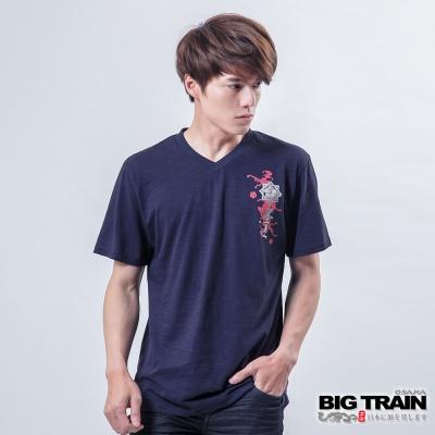 BIG TRAIN 龍虎奔騰火焰V領T-男-丈青