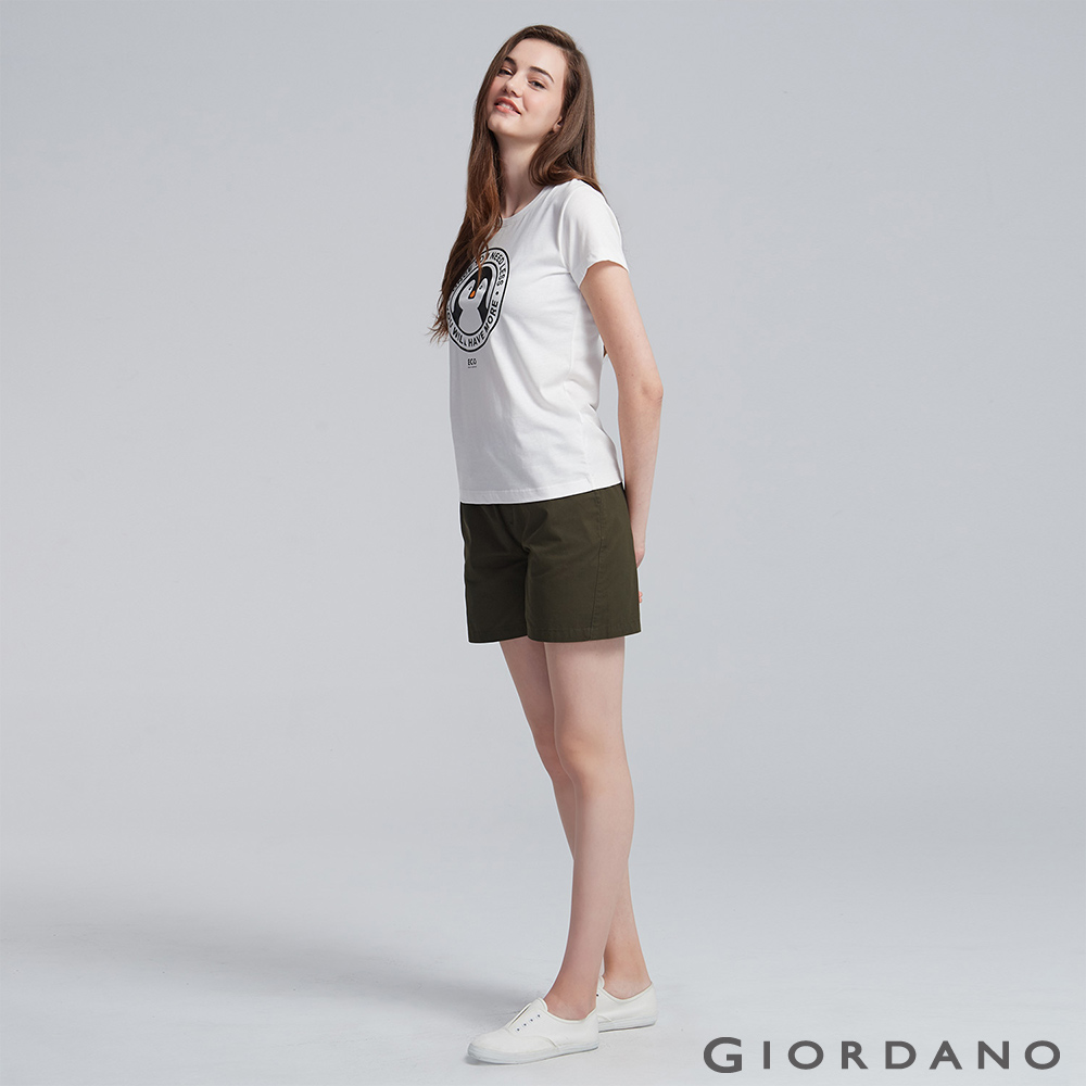 GIORDANO 女裝純棉抽繩卡其休閒短褲-60 深淵綠色