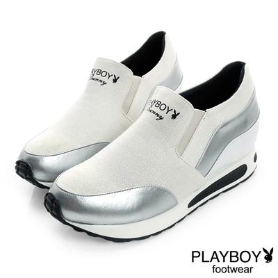 PLAYBOY-潮流進行曲-雙色拼接內增高休閒鞋-白-女