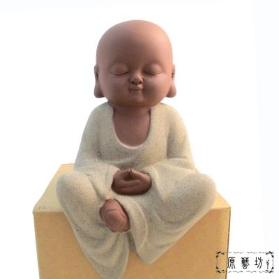 【原藝坊】紫砂陶瓷小沙彌茶寵-禪定小和尚