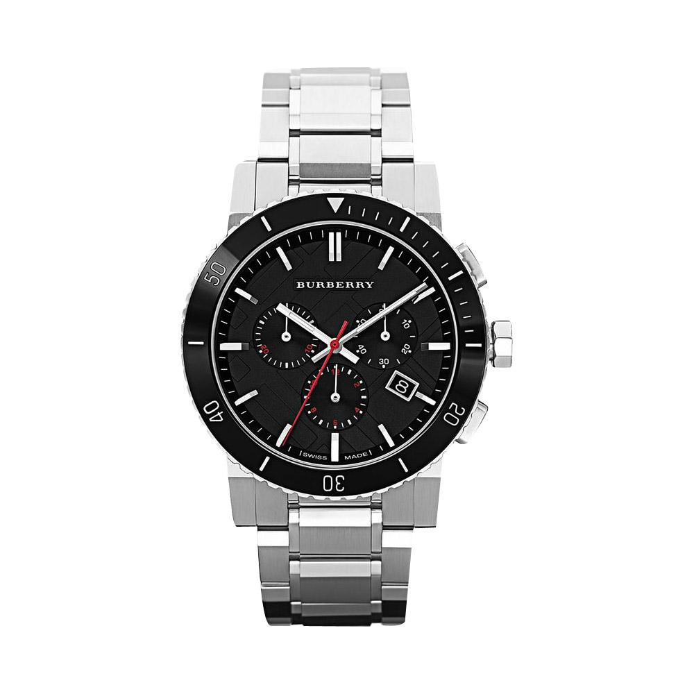 BURBERRY 英倫經典格紋計時腕錶-黑/42mm