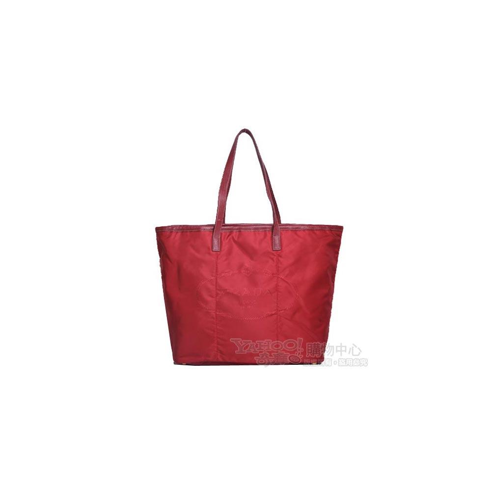 PRADA JACQUARD SHOPPING 大浮水印LOGO時尚購物包(紅)