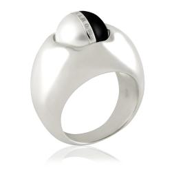 MONT BLANC 雙面轉動寶石寬版純銀戒指【48號】
