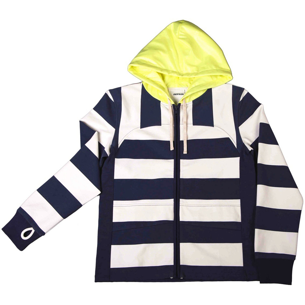摩達客 美國LA設計品牌【Suvnir】藍白橫紋連帽外套