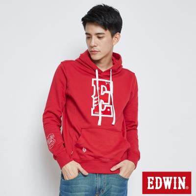 EDWIN E字植絨閃電連帽T恤-男-紅色