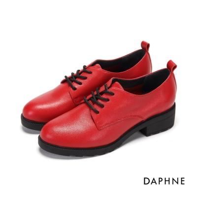 達芙妮DAPHNE 休閒鞋-繫帶真皮復古中粗跟紳士鞋-酒紅