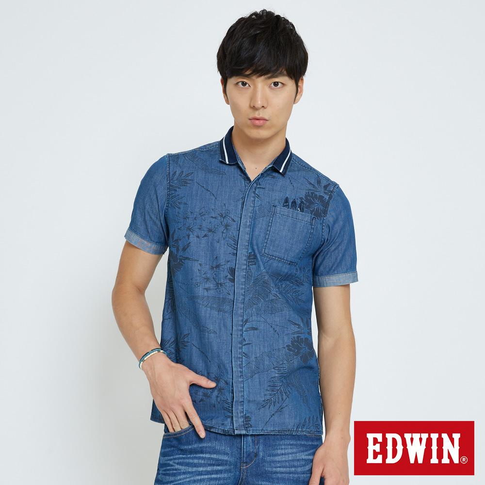 EDWIN 仲夏圖騰拼接襯衫-男-拔洗藍