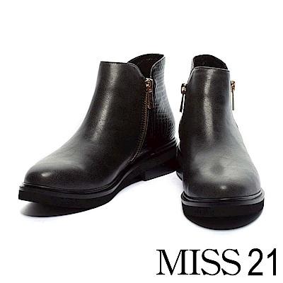 短靴-MISS-21-低調亮澤壓紋皮革粗跟短靴-黑